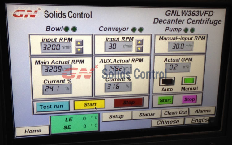 PLC Touch screen for VFD centrifuge