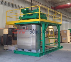 Telescopic skid for drilling waste centrifuge